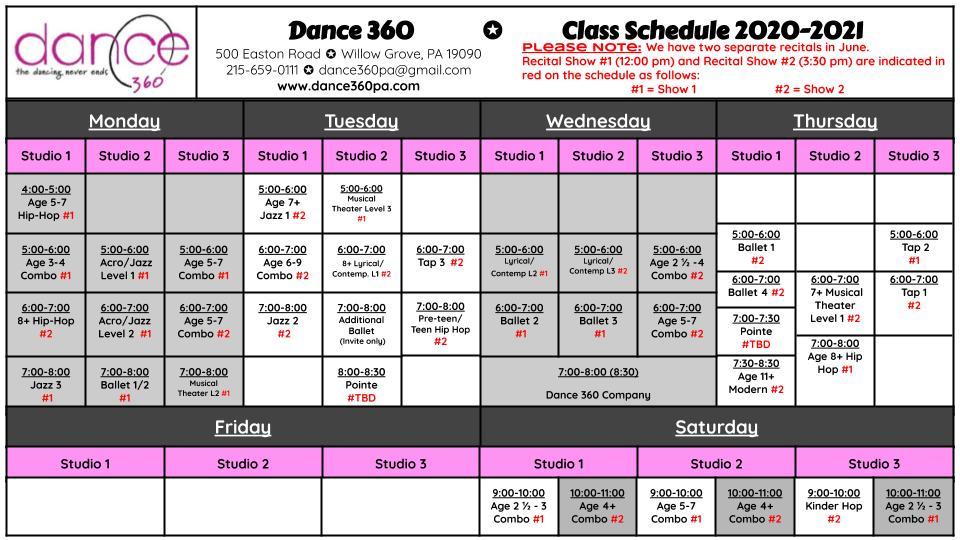 Dance 360 Schedule 2020-2021