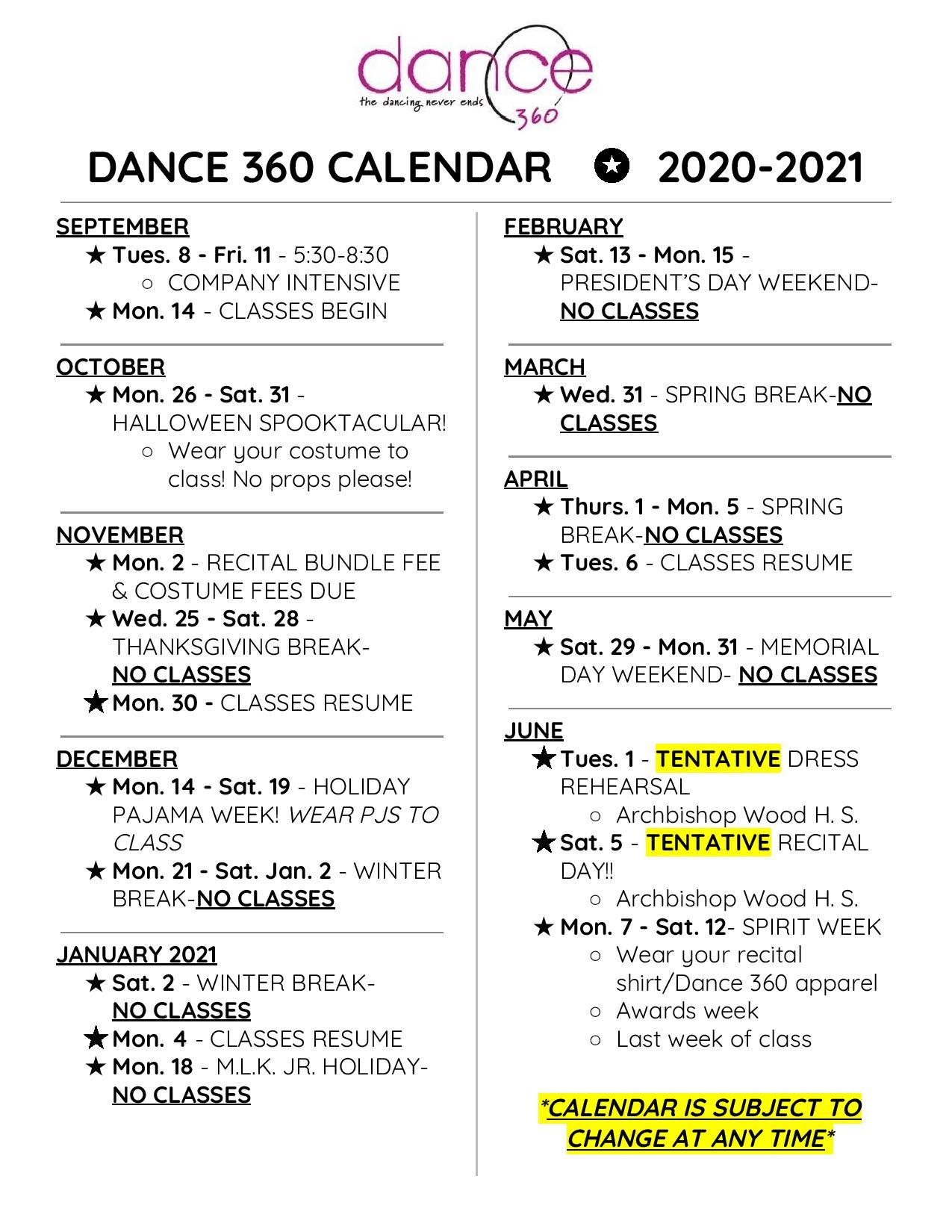 Dance 360 Calendar 2020-2021