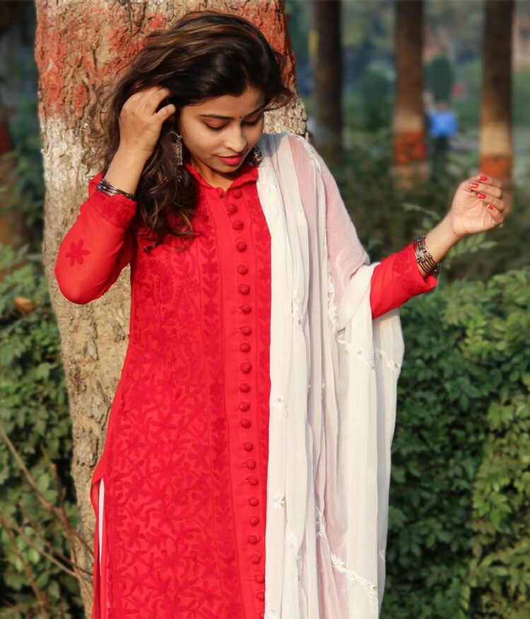 Red Georgette Front Button Kurti