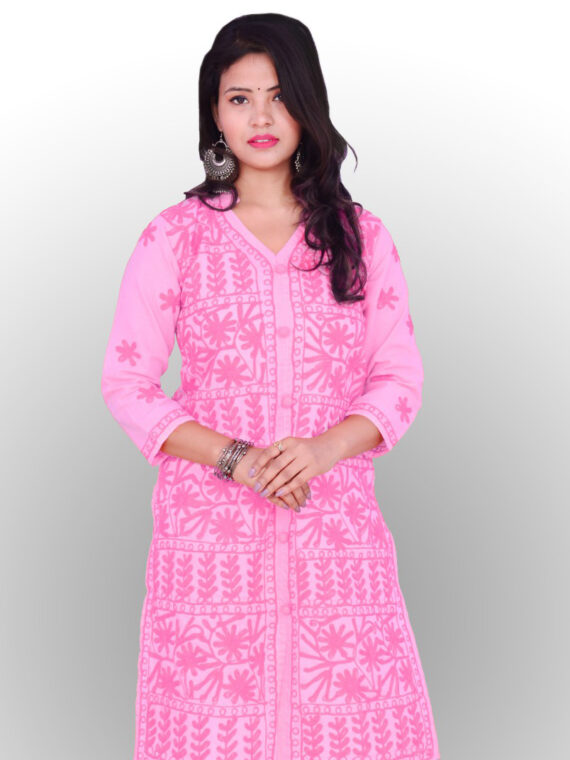 Baby Pink Long Chikankari Cotton Kurti with white embroidery · Long Lucknowi Kurtis, Lucknowi Kurtis