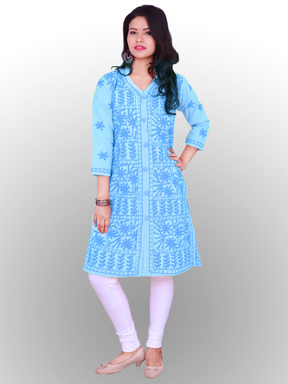 Buy Chikankari Cotton Aari Kurti Lucknow Chikan Cotton Aari Kurti Sky Blue (2)