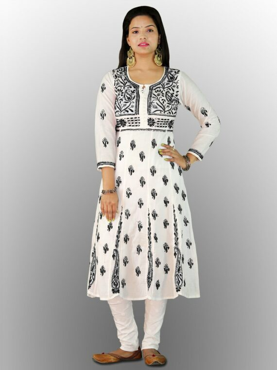 Buy Chikankari Cotton Anarkali Lucknow Chikan Cotton Anarkali Black (1)