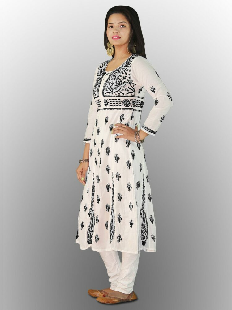 The fabric used in this kurta is 100% soft cotton and can washed several times using normal washing ... Lucknowi Chikankari Dark black Printed Long Kurti.