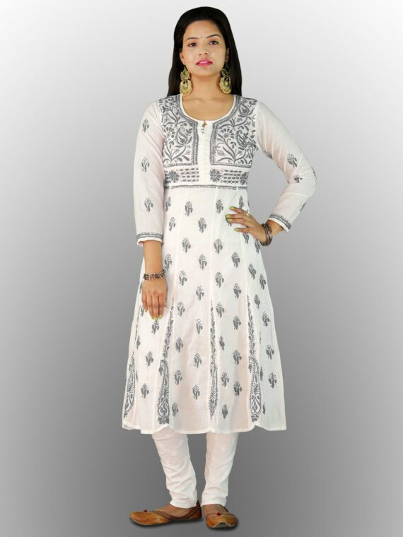 Buy Chikankari Cotton Anarkali Lucknow Chikan Cotton Anarkali Grey (3)