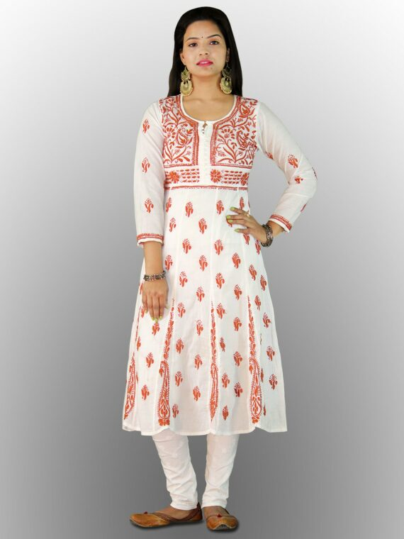 Buy Chikankari Cotton Anarkali Lucknow Chikan Cotton Anarkali Orange (2)