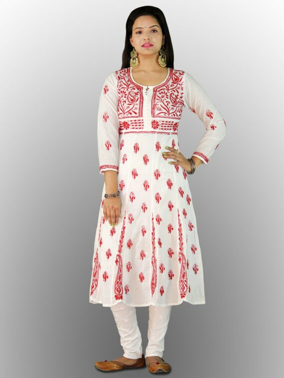 Buy Chikankari Cotton Anarkali Lucknow Chikan Cotton Anarkali Red (1)
