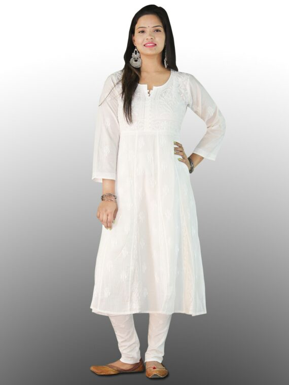 Buy Chikankari Cotton Anarkali Lucknow Chikan Cotton Anarkali White (2)