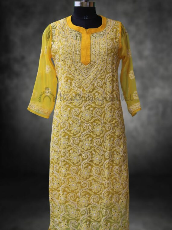 Buy Faux Georgette Chikankari Yellow Mukaish Work Kurti Lucknawi Chikan Online (3)