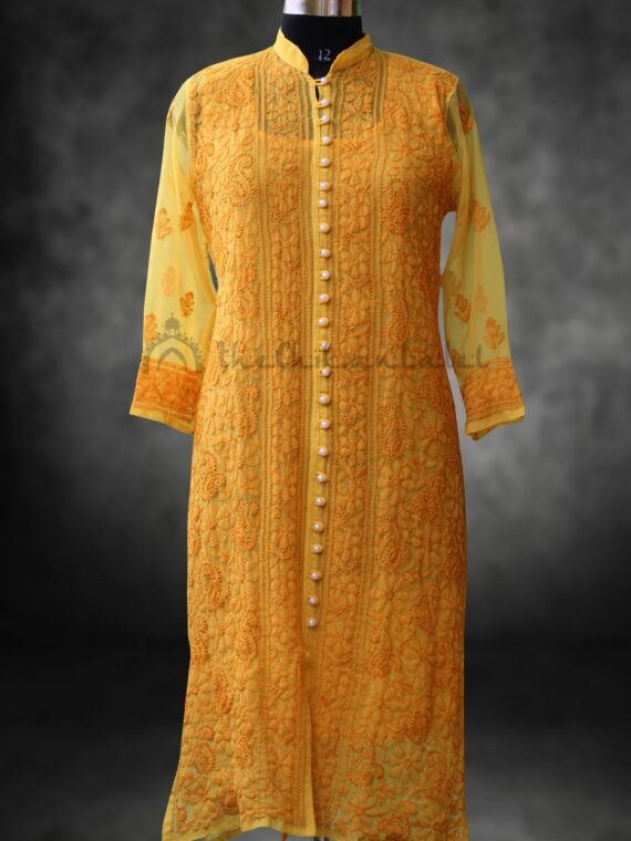 Buy Faux Georgette Lucknow Chikan Chikankari Yellow Moti Front Button Kurti Online (3)