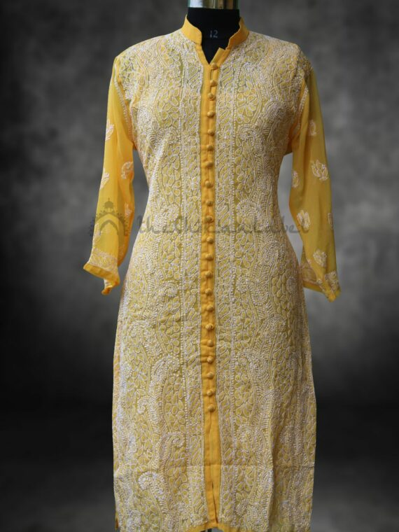 Buy Georgette Lucknowi Chikan Chikankari Yellow Front Button Kurti Online (3)