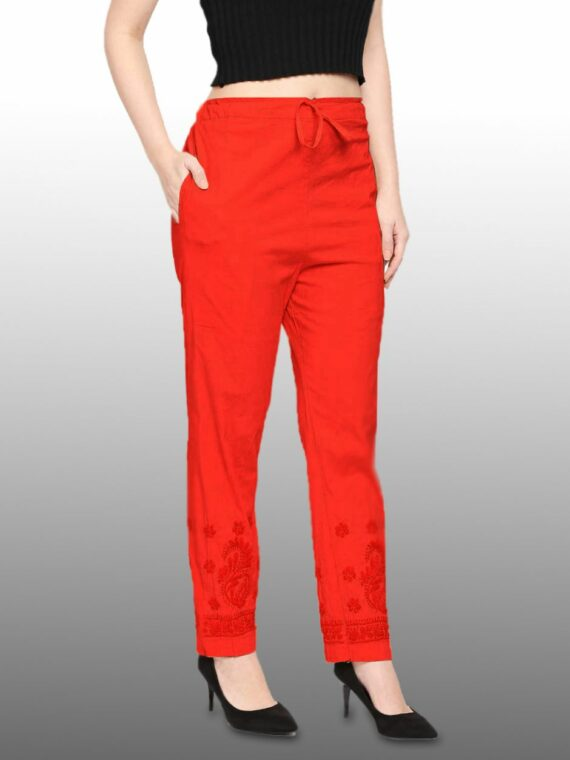 Buy Lucknow Chikankari red Ciggaratte Pants Online