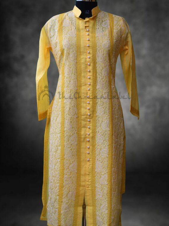 Buy Pure Cotton Lucknow Chikan Chikankari Yellow Moti Front Button Kurti Online (3)