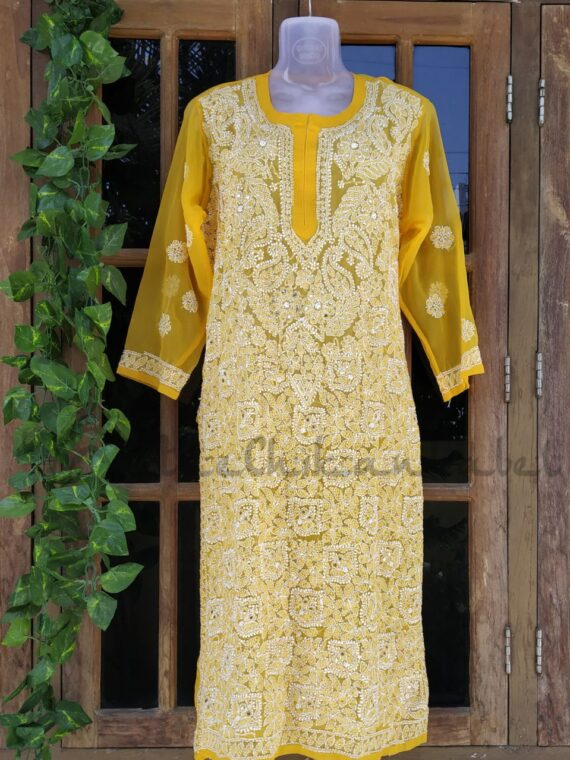 Yellow Mukaish Work Kurti