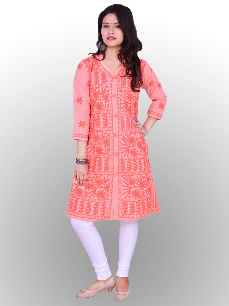 Buy SHUBHGAYATI Women's Cotton Handcrafted Chikankari Kurti (Peach, Medium) from Kurtas & Kurtis at Amazon