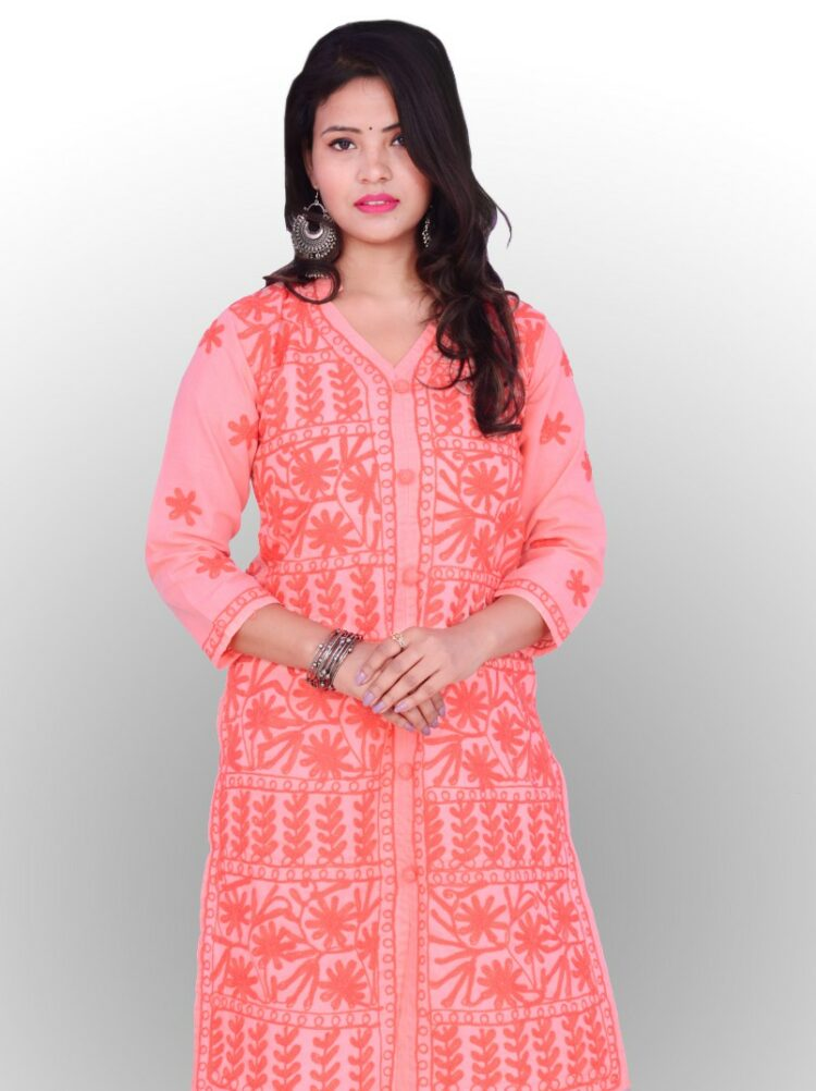 This Peach Faux Georgette Chikankari kurti is soft and sheen in the fabric. The royal design and style which is obtainable