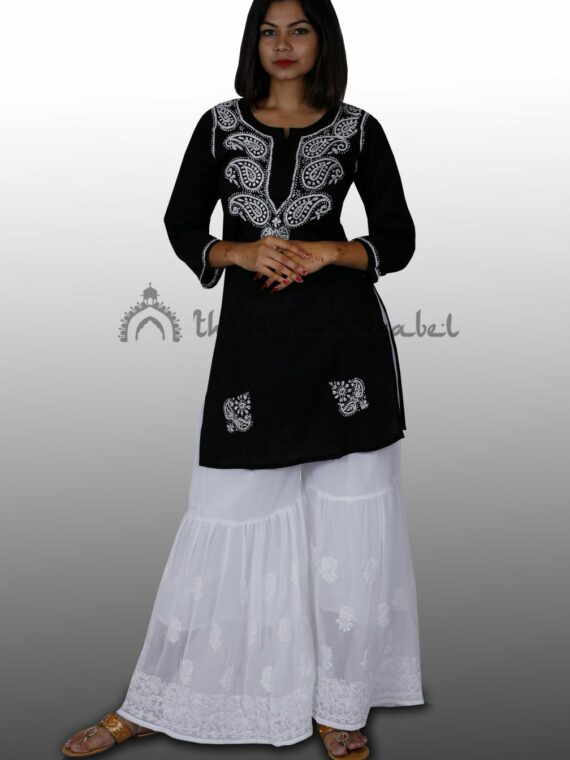 Pure Cotton Lucknow Chikankari Black Short Top Kurti (3)