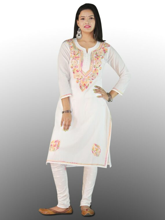 Pure Cotton Lucknow Chikankari Kashmiri Do Boota Kurti Short Top (1)