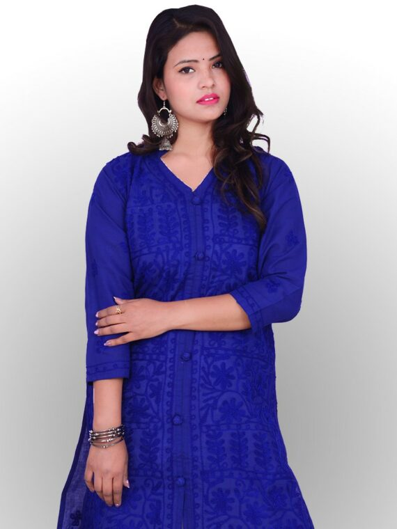 Blue cotton Long cotton Lucknowi Chikankari kurta · Long Lucknowi Kurtis ... Peach Long Georgette silken thread work front jaal Chikankari Kurti