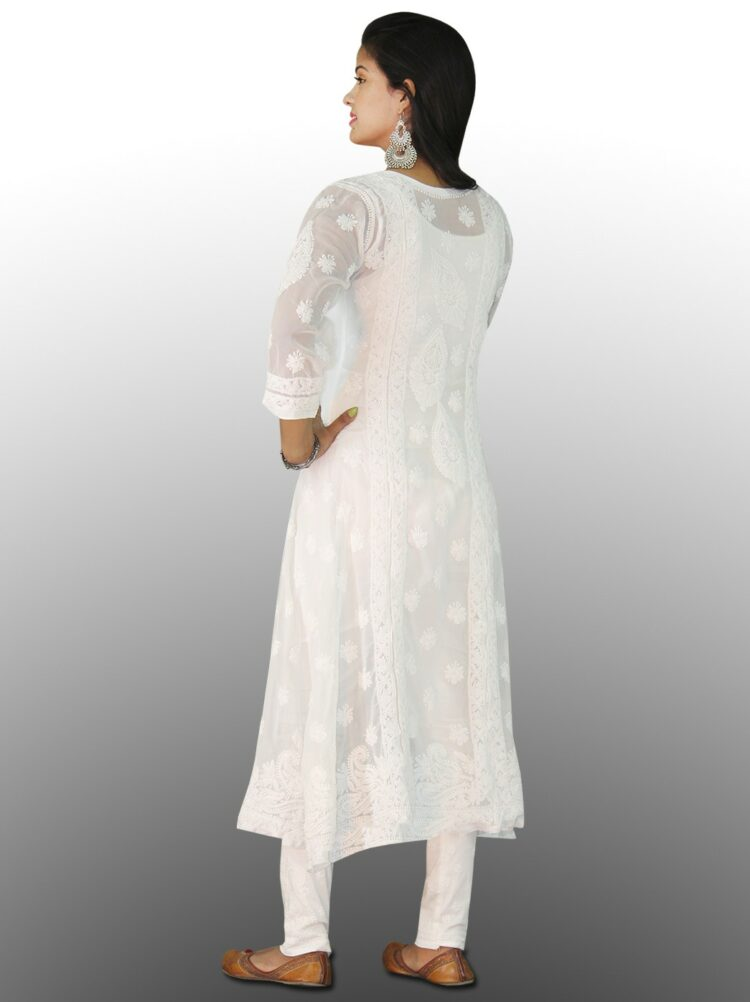 Pair chikan kurtis with white or light coloured churidars and you are ready to spread your shine everywhere.