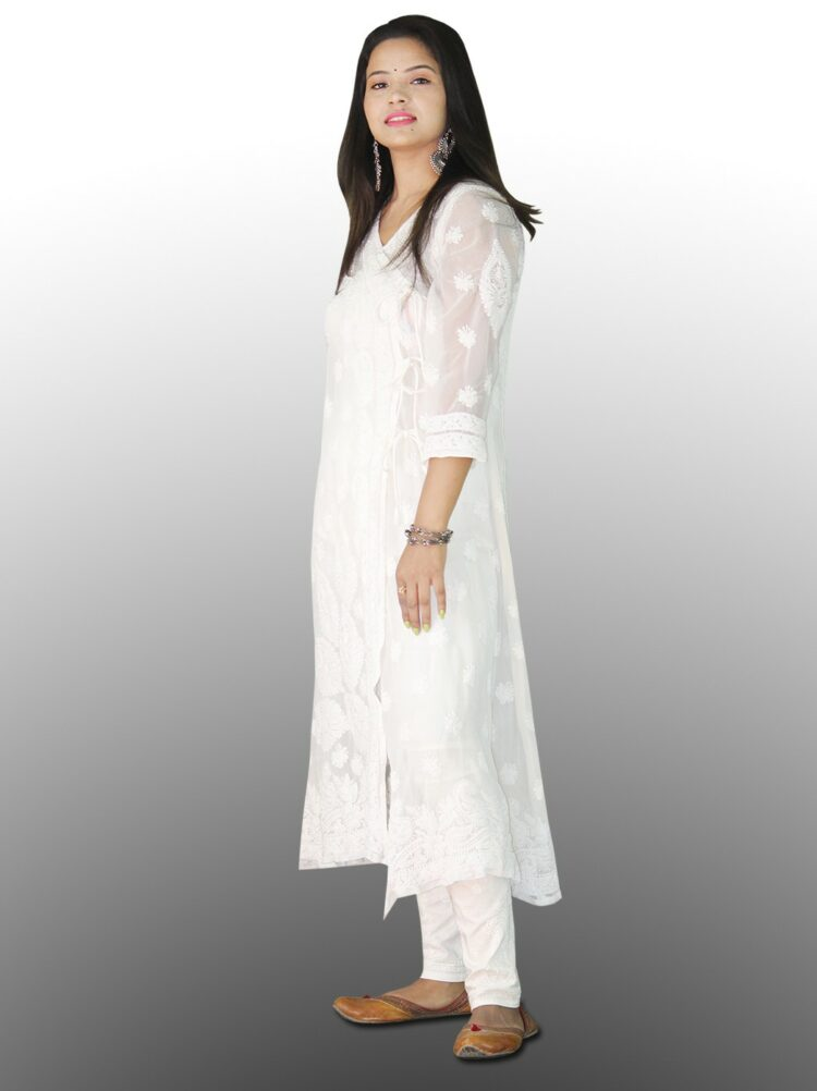 Started as a white-on-white embroidery form, now lucknowi chikan kurtis have a variety of shades like blue, red, yellow, beige, peach, green, pink and many more