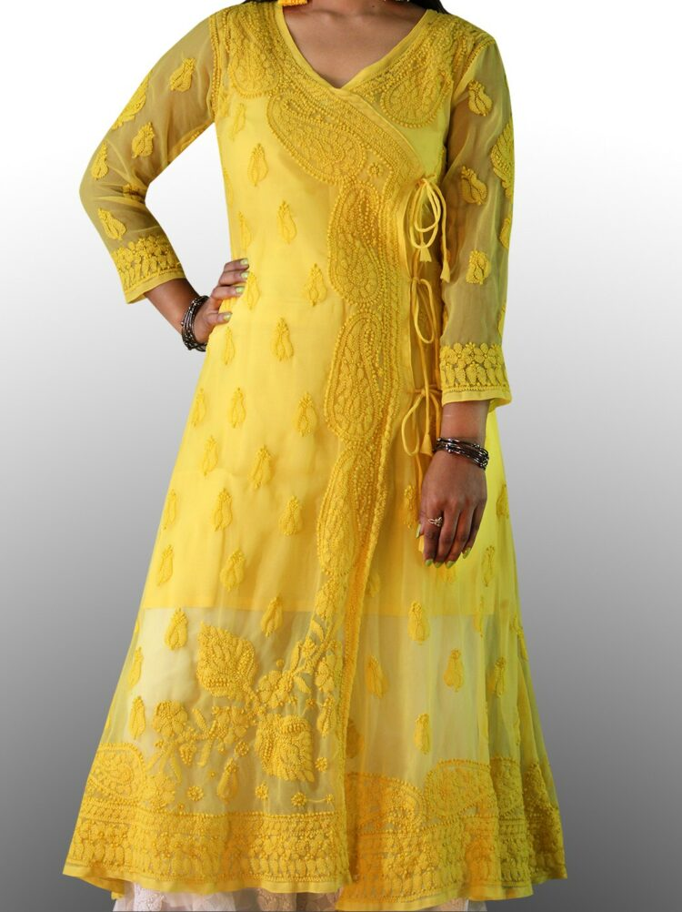 Light Yellow High collar Long Chikankari Cotton Kurti with contrast hand embroidery ... Magenta Pink Lucknowi Chikan Malmal Kurti.