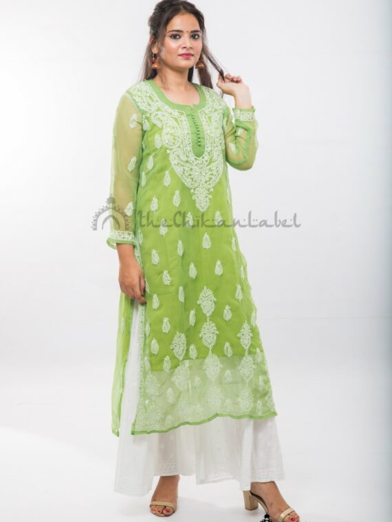Buy Georgette Green Gala Booti Kurti Online (5)_compressed