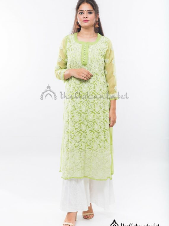 Buy Georgette Green Jaal Kurti Online (2)_compressed