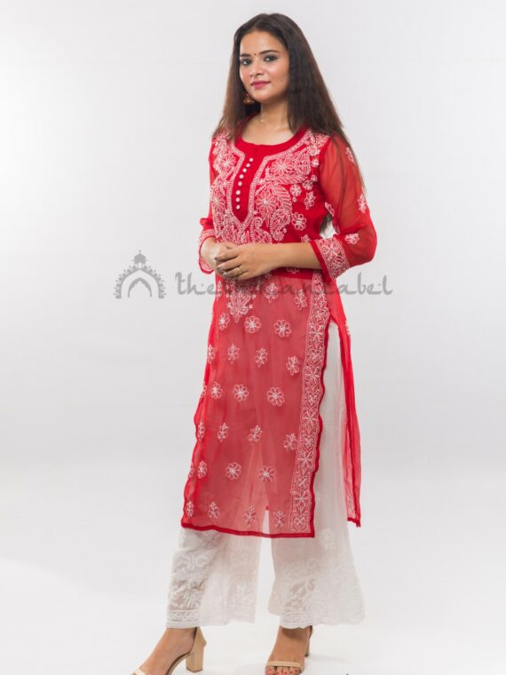 Buy Georgette Red Gala Booti Kurti Online (4)_compressed