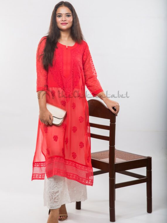 Buy Georgette Red Hakoba Kurti Online (2)_compressed