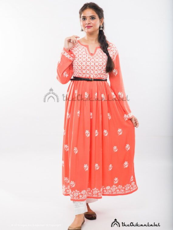 Buy Orange Rayon Yok Anarkali Kurti Online (1)_compressed