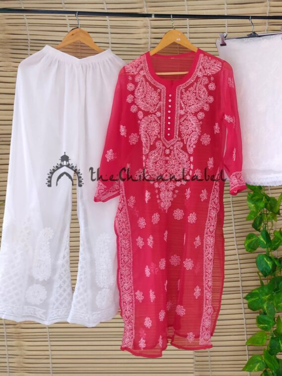 Thechikanlabel Red Georgette Kurti (1)_compressed