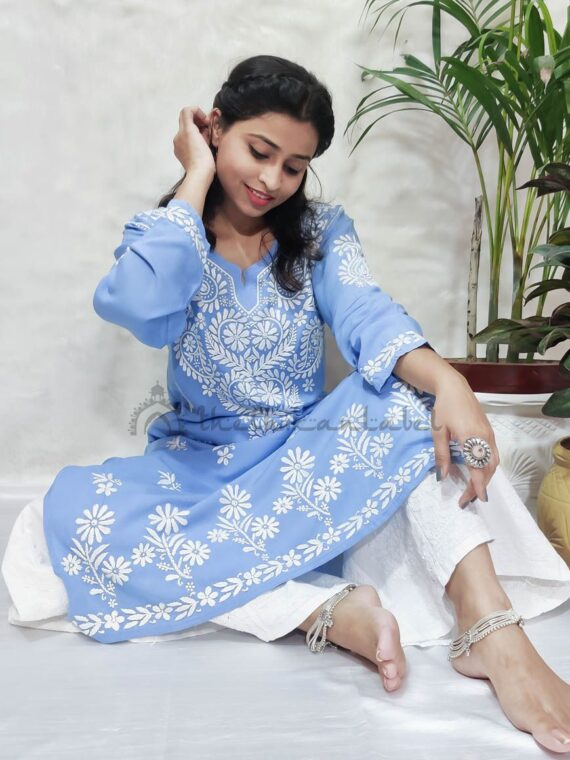 karishma tanna chikankari kurti buy online modal kurti powder blue color_compressed