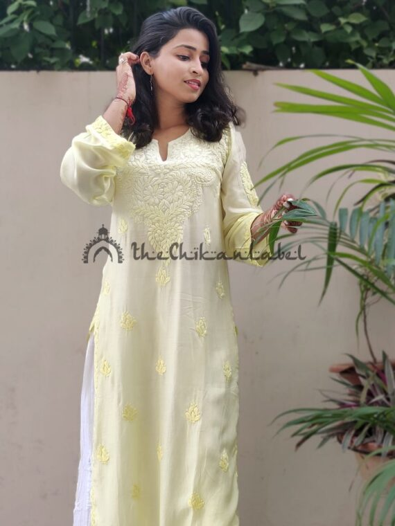muslin chikan kurti buy yellow 0122_compressed