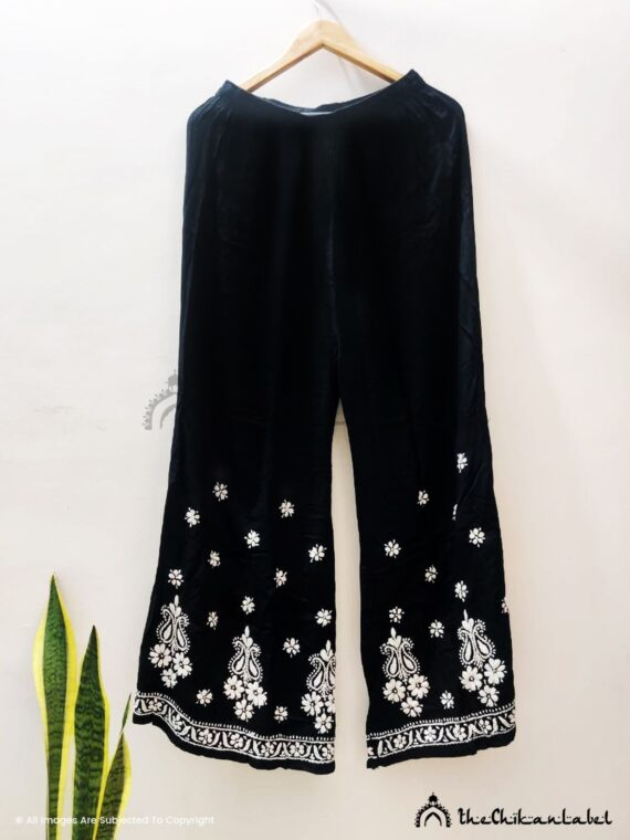 Prerena chhabra black rayon modal chikankari close up chikankari work_compressed