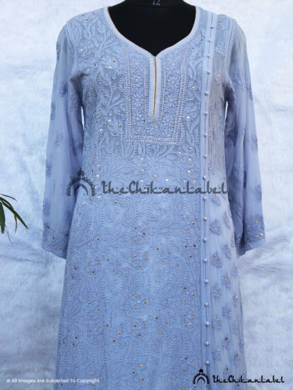 Pastel Purple Mukaish Viscose Kurti 02