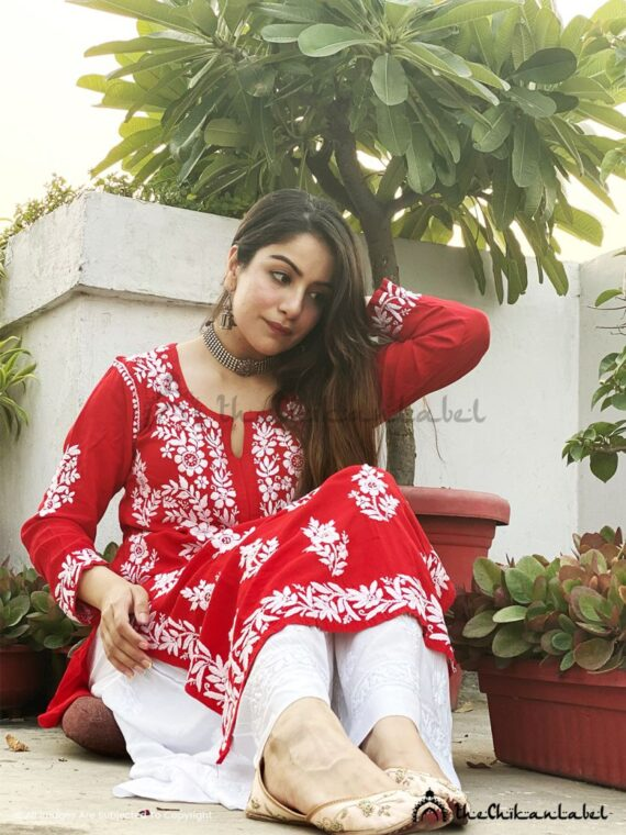 Red Modal cotton Kurti 02