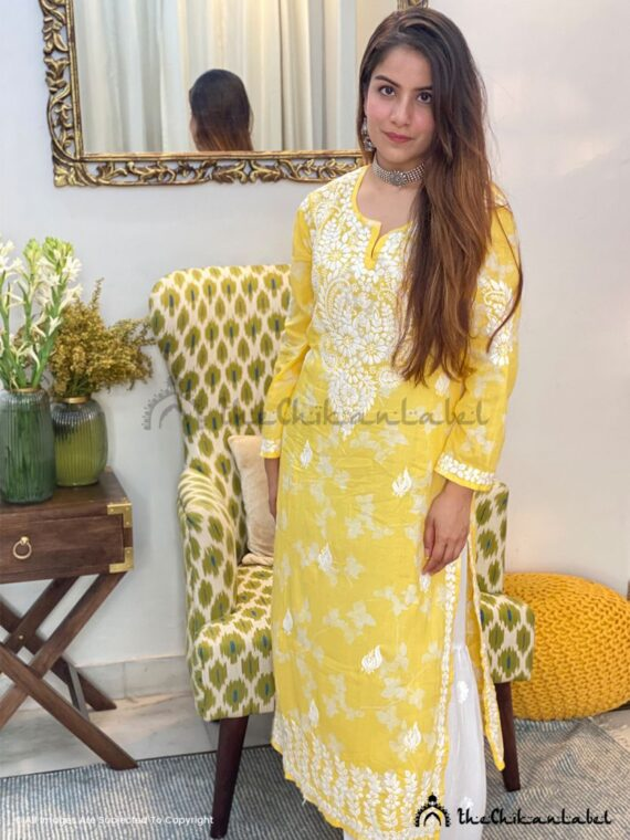 Yellow Malmal Cotton Kurti 01