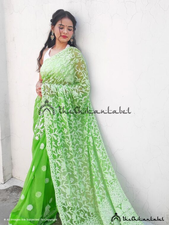 Green Georgette Jaal Saree 01