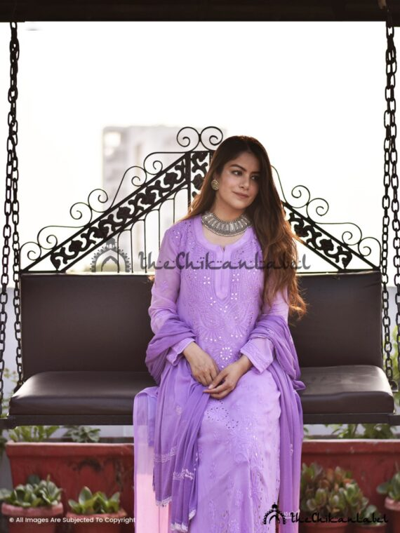 Lilac Mukaish Viscose Set