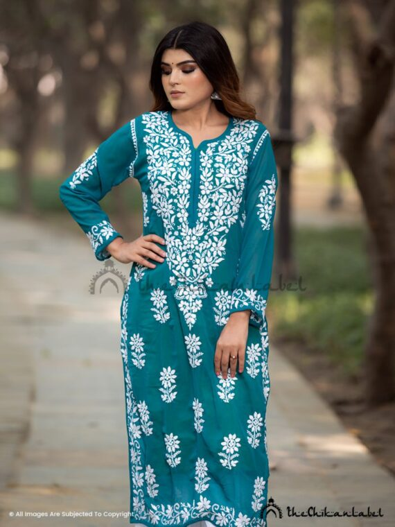 Teal Green Georgette Straight Kurti 02