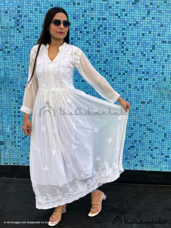 White Georgette Dyable Kurti 01