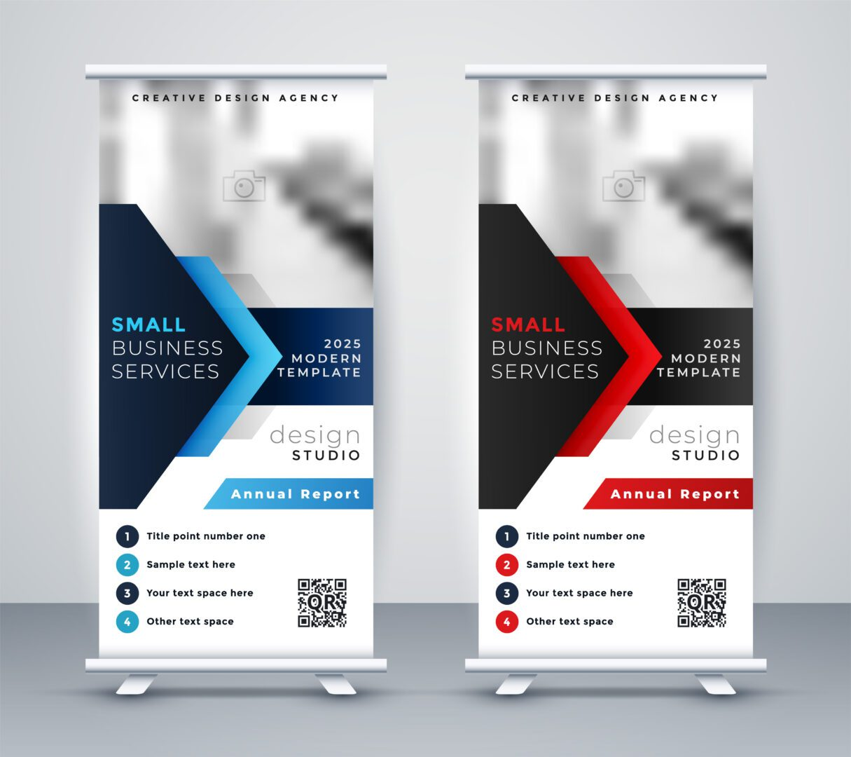 modern company rollup standee banner in blue and red color