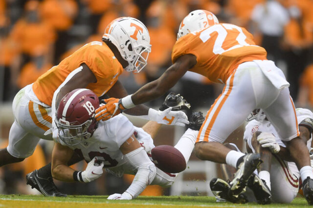 Alabama wide receiver Slade Bolden (18) loses the ball in the second half during a game between Alabama and Tennessee at Neyland Stadium in Knoxville, Tenn. on Saturday, Oct. 24, 2020.