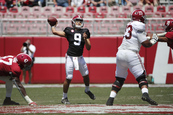 4/17/21 MFB Golden Flake A-Day Game Alabama quarter back Bryce Young (9) Photo by University of Alabama