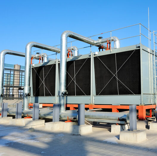 packaged cooling tower on a roof - cooling tower experts