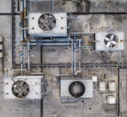 aerial view of cooling towers on a roof - cooling tower experts