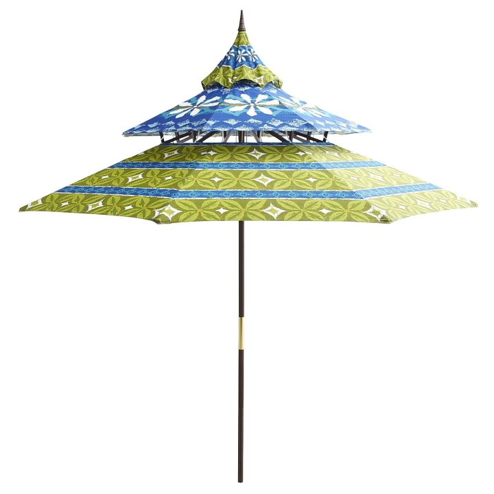 blue floral pagoda umbrella