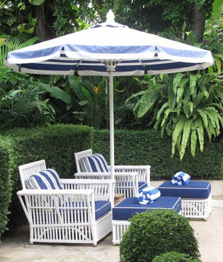 blue white striped patio umbrella