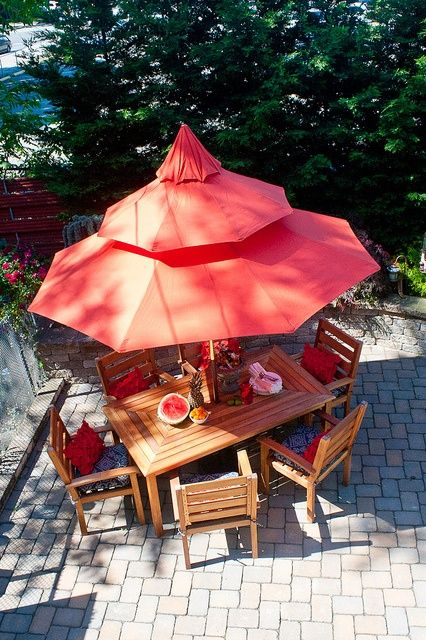 orange umbrella patio