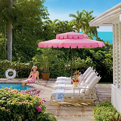 pink umbrella patio